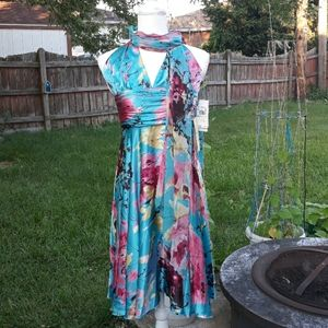 NWT Adrianna Papell abstract floral dress & scarf